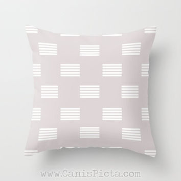 grey modern geometric lines throw pillow 16x16 decorative cover