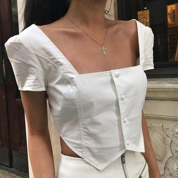 ESBON Women Simple Fashion Square Collar Short Sleeve Single Row Buttons T-shirt Solid Color Crop Tops