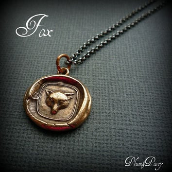 Fox Wax Seal Necklace in Bronze Cunning by PlumAndPoseyInc