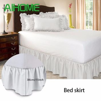 Cool Free Shipping Hotel Elastic Bed Skirt 6 Colors Suede Fabric for King/Queen Size Dust Ruffle pastoral Style Fit bedspreadAT_93_12
