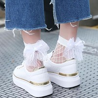 socks women Mesh Lace Fish Net Socks women bow ankle socks fishnet socks calcetines divertidos #15