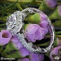 18k White Gold Verragio Dual Row Pave Diamond Engagement Ring