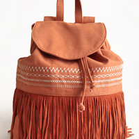 Before Sunset Fringe Backpack in Orange - $56.00: ThreadSence, Women's Indie & Bohemian Clothing, Dresses, & Accessories