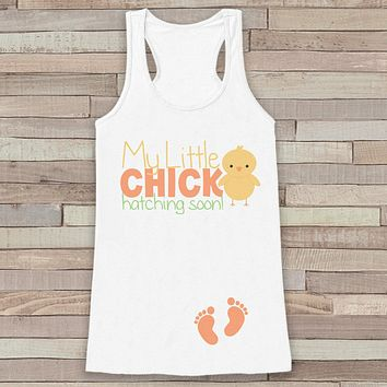 Easter Pregnancy Announcement Tank - Hatching Soon Pregnancy Reveal - Spring Pregnancy Shirt - White Tank - Easter Pregnancy Announcement