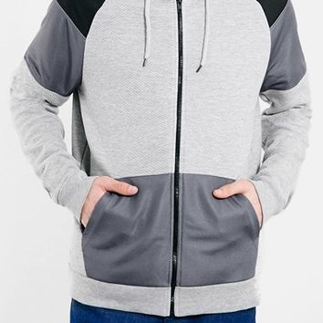 Men's Topman Cut And Sew Colorblock Zip Hoodie