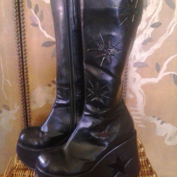 90s super chunky wedge heel black goth star boots