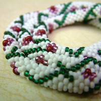 Bead Crochet Necklace Flower and Vine in White Emerald by lanmom