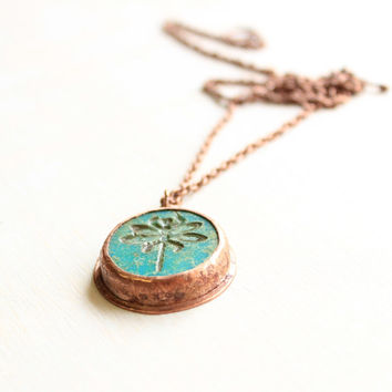 Dragonfly necklace rustic copper necklace