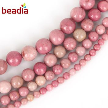 Fit Women DIY Bracelet Necklace 4 6 8 10mm Pink Natural Rhodochrosite Stone Beads For Fashion Men Jewelry Making Strand 15''