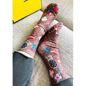 LV Louis Vuitton & Fendi & GUCCI New fashion monogram letter pattern print long sock women No Box