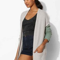 BDG London Patterned Open-Front Cardigan- Grey