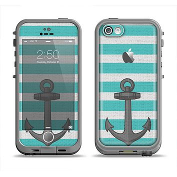 The Teal Stripes with Gray Nautical Anchor Apple iPhone 5c LifeProof Fre Case Skin Set