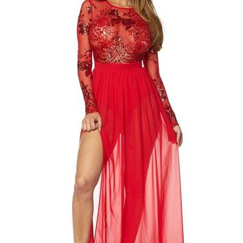 Audrey Red Sequin Long Sleeve Sheer Maxi Dress