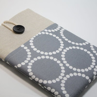 """Mac Book Air 11"""" Sleeve Mac Book Air Case Microsoft Surface Pro 3 Case Padded Handmade Microsoft Surface 3 Cover- Pearls in Grey"""