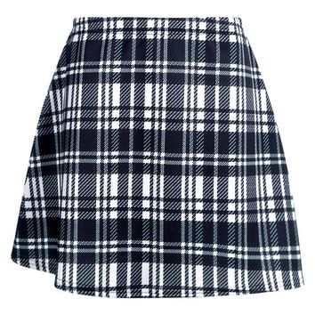 Monochrome Check A Line Mini Skirt | Boohoo