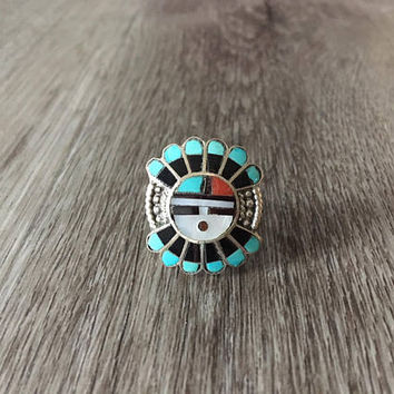 Vintage Native American Headdress Ring in 925 Sterling Silver, Set with blue turquoise, onyx, coral and mother of pearl, US Size 6