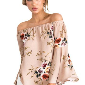Peachy Floral Elastic Off Shoulder Bell Sleeve Top