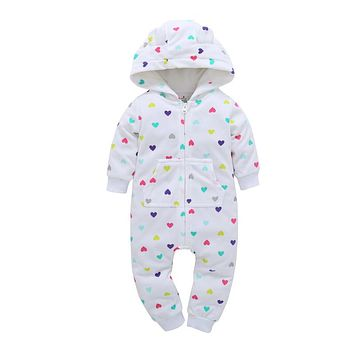2017 Autumn&Winter Baby Boy girl Clothes Baby Rompers Fleece Newborn Clothing One Piece baby girl clothes Romper Hooded