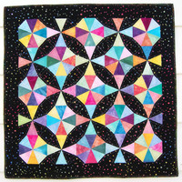 Kaleidoscope Baby Quilt, Crib Blanket or Cot Quilt, Star Quilt Textile Wall Hanging in Hand Dyed Pastels with Black Batik