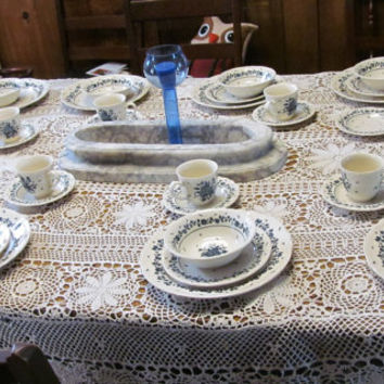 RARE Nikko Bouquet Blue and White Dish Set Malaysia Bouquet Table Mates Daily Dining Dish Set Service for 10 Dinnerware set