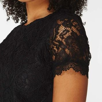 Black Cornelli Lace T-Shirt | Dorothyperkins