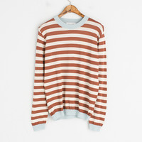 Different Colour Neck Stripe Jumper, Brown