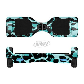 The Vector Hot Turquoise Cheetah Print Full-Body Skin Set for the Smart Drifting SuperCharged iiRov HoverBoard