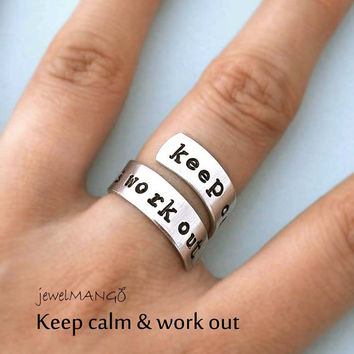 keep calm and work out ring, Custom Ring, Personalized Ring, Twist ring, wrapped ring, Adjustable, diet, gym, health, athletic, weight loss
