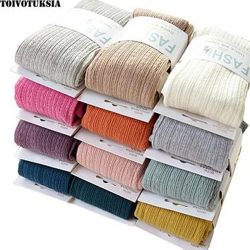 TOIVOTUKSIA Warm Tights Winter Full Cotton Vertical Pattern Candy Colors Thermal Dress Pantyhose for Winter Spring