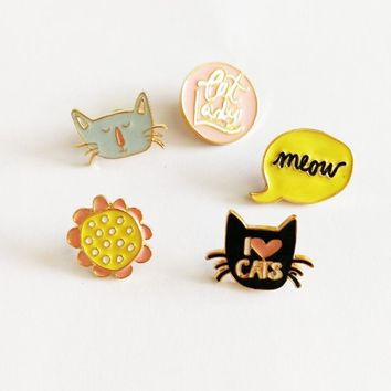 Trendy Cartoon Animal Cat Lady Brooches I Love Cats Enamel Pin for Girls Lapel Pin Hat/bag Pins Denim Jacket Women Brooch Badge Q359 AT_94_13