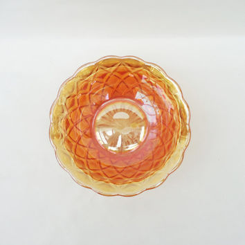 Vintage Carnival Glass Orange Bowl,Vintage Iridescent Orange Carnival Glass Bowl, Orange Glass  bowl, UK Seller
