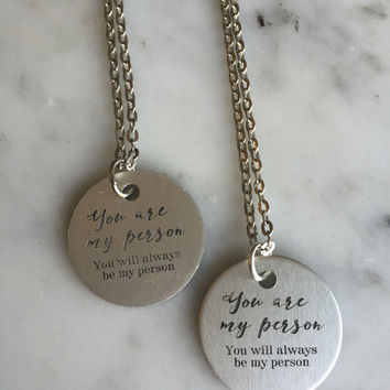 You are My Person, My Person Necklace, Couple Necklace Set, Couple Jewelry, Gift for Girlfriend, Girlfriend Gift, My Person Charm