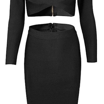 Esperanza 2 Piece Long Sleeve Bandage Dress - Black