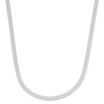 Sterling Silver 2.8mm Herringbone Chain Necklace (18 inch)