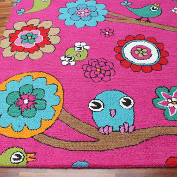 Birds Floral Pink 5 x8 Handmade Floral Persian Style Wool Area Rug