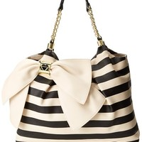 Betsey Johnson Bow Licious Tote,Cream Stripe,One Size