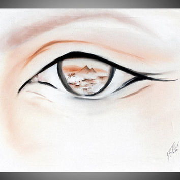 Eye of Egypt - egyptian eye painting - egyptian painting - pyramid picture - desert landscape painting egypt - original painting - egyptian