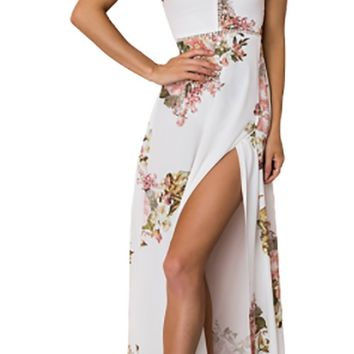 Blooming For Your White Pink Floral Sleeveless Square Neck Halter Backless High Slit Casual Maxi Dress