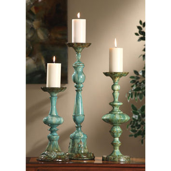 Crestview Collection Candlesticks - Set Of 3, Aegean Blue