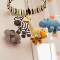 Jungle set: jungle baby mobile, rattle giraffe and giraffe nursery art - made to order only