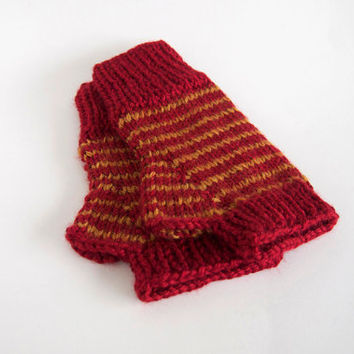 knit harry potter vegan fingerless mittens-- the condyle gryffindor wristwarmers