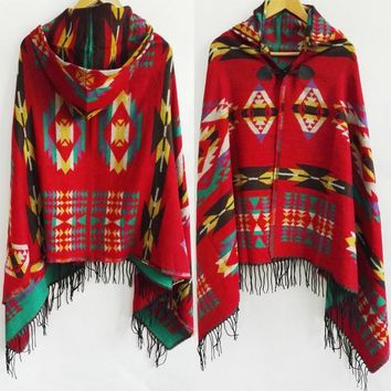 Tribal Fringe Hoodies  blankets Cape shawl Ponchos and Capes