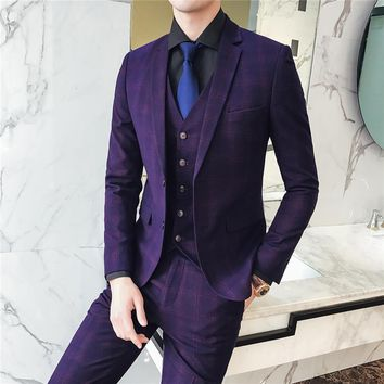 High-end Men Suits Wine Red Navy Blue Fashion Business Casual Men's Plaid Suit Jackets with Vest with Pants