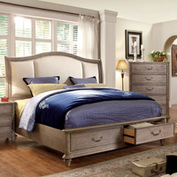 Northrup Transitional Fabric Eastern-King Bed in Rustic Grey