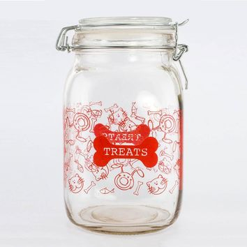 Pet Treat Canister | Old Fashion Metal Bail 52 OZ Glass Jar