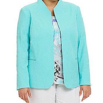 Allison Daley Plus Long-Sleeve Open-Front Textured Jacket - Aqua