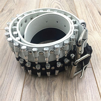 2016 PU Leather Korea Fashion Style White Punk Strap Waist Motorcycle Metal Bullet Rivet Belt For Female Male Vintage Belts