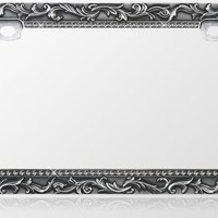 Car Metal License Plate Frame - Vintage Lace Design - Gun Metal & T-Smoke Diamond Crystals