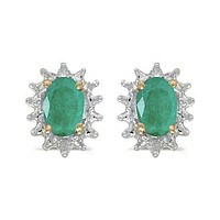 14K Yellow Gold Oval Emerald and Diamond Earrings (.90ct tgw)