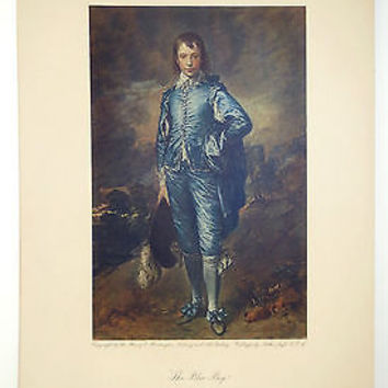 Arthur Jaffe Collotype Lithograph Print Blue Boy Thomas Gainsborough True VTG